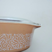 Vintage Pyrex 750 ML Woodland Brown Ovenware Dish with Lid 1970s