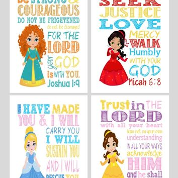 Princess Set of 4 - Christian Nursery Decor Wall Art Print - Cinderella, Merida, Elena and Belle - Bible Verse - Multiple Sizes