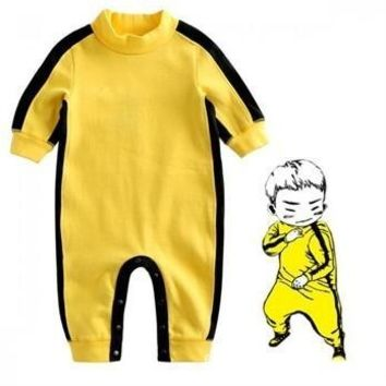 2017 NEW Baby Boys Girls Clothes Romper Chinese Kong Fu Infant Jumpsuit Hero Bruce Lee Newborn Baby Costume Climbing Clothes