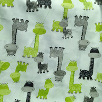 Small Baby Blanket (20 x 20 inches) - Giraffe print green grey with choice of minky attach to Stroller or Car Seat