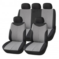 Adeco 9-Piece Car Vehicle Protective Seat Covers, Universal Fit, Black/Gray