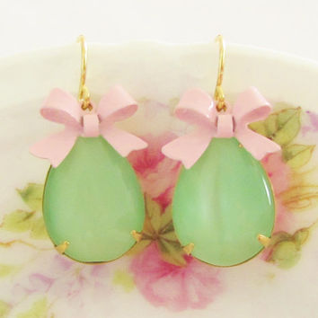 Vintage Green Glass Moonstone Jewels with Pink Enamel Bow Dangle Earrings