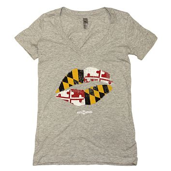 Maryland Kiss (Heather Grey) / Ladies V-Neck Shirt