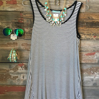 Striped Out Tunic Dress: Black