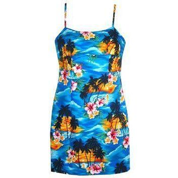 skyburst hawaiian spaghetti dress
