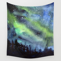 Galaxy Nebula Watercolor Northern Lights Aurora Borealis Wall Tapestry by olechka