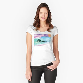 """Watercolor Art Blessed Bible Paint Splash"" Women's Fitted Scoop T-Shirt by Dreambigdigital 