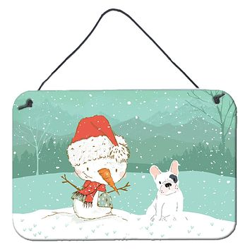 Piebald French Bulldog Snowman Christmas Wall or Door Hanging Prints CK2087DS812