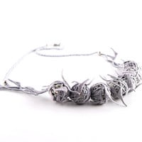 Necklace -  unique, gray, silver, crochet art necklace- - free shipping - -