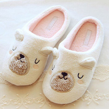 Seal Pattern Round Toe Flat Slippers