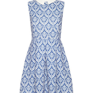 Iska London Blue & White Damask Collared A-Line Dress | zulily