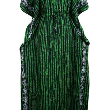 Mogul Interior Womens Kaftan Dress Green Lines Printed Kimono House Dresses One size