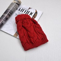 Unisex Couple Solid Color Twist Hairball Knit Beanie Hat Winter Accessories