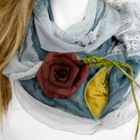 Gray Scarf - Gray Scarf Smoked Color - Two-Color Scarf - Gray Silk Scarf - Women's Accessories - Silver Scarf - Burgundy Rose Scarf