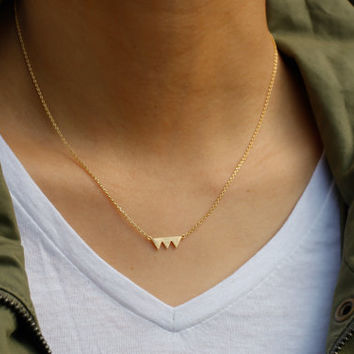 triangle necklace. gold everyday mountain necklace. tiny small petite dainty minimalist charm jewelry. no107