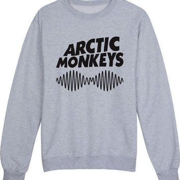 Arctic Monkeys Women's Casual Black Gray Pink & White Crewneck Sweatshirt