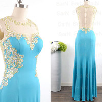 Blue Jersey Lace Prom Dresses, Lace Straps Blue Mermaid Evening Gown, Blue Jersey Formal Dresses, Mermaid Jersey Lace Long Evening Gown