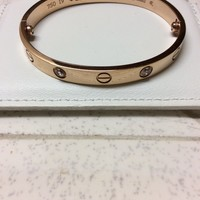Cartier Love Bracelet 18k Gold 4 Diamond Size 19