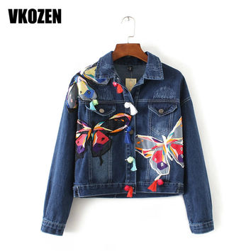 Women Painted Butterfly Embroidery Denim Jacket Single-breasted Pockets Tassel Loose Coat Korean Style Outwear YN-4326