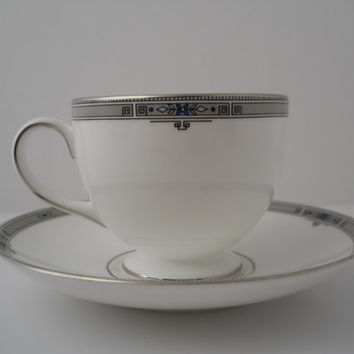"Wedgwood Amherst Teacup ""Leigh"" & Saucer New w/o Bags 1984 Made In England Bone China"