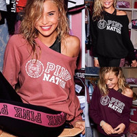 Victoria's Secret PINK Women's Fashion Letter Print Round neck Long-sleeves Pullover Tops