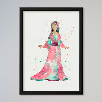 Fa Mulan DISNEY Poster Art Print Watercolor Print poster Disney Picture little girl's gift Nursery Art children room decoration