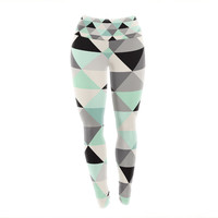 "Crystal Walen ""Triangle Geo Mint "" Teeal Black Yoga Leggings"