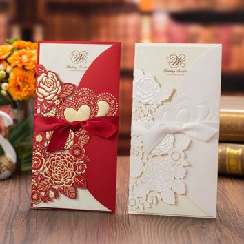 1pcs Sample Laser Cut Wedding Invitations Card Rose Love Heart Cute Greeting Cards Customize with Ribbon Wedding Party Supplies