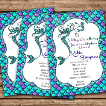 Mermaid Baby Shower Invitation - Mermaid Baby Shower Invites - Pregnant Mermaid - Under The Sea Baby Shower - Supplies - Party
