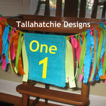 High Chair Banner - High Chair Garland - Rag Tie Garland - Rag Tie Banner Baby Birthday Banner Baby Birthday Garland