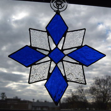 Snowflake Stained Glass Suncatcher - Christmas Ornament - Christmas Decoration