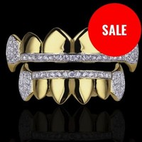 "Top & Bottom 14k Gold Micro Pave Fang Grillz ""Custom"""