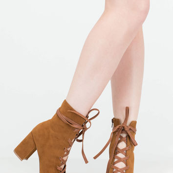 Play Your Lace Faux Suede Block Heels GoJane.com