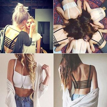 Lady Fashion Bralette Caged Back Cut Out Strappy Padded Bra Bralet Vest Crop Top