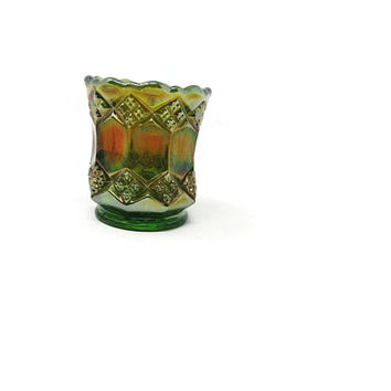 Antique Carnival Glass Toothpick Holder Footed Votive Holder Trinket Glass Green Carnival Glass