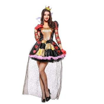 Adult women the queen of hearts dress Alice in Wonderland halloween party red queen cosplay costume Female Elegant dress Macchar Cosplay Catalogue