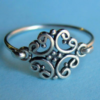 Small Sterling Silver Antique Style Pinky Ring