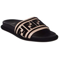 Fendi Ff Logo Leather Slide, 37, Pink