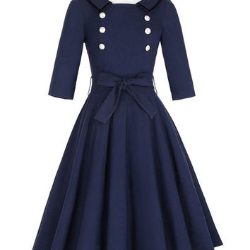 Belle Poque Women Vintage 3/4 Sleeve Dress Navy Blue Summer style Woman 50s Robe Rockabilly Dress Office Work Sexy Party Dresses