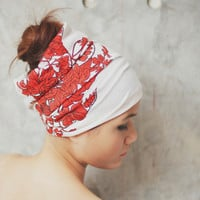 Autumn Leaves, Red, Extra wide Hippie Turban Headband - Vintage Retro Pop pattern print