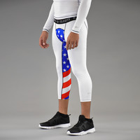USA America Flag 3/4 Tights for men