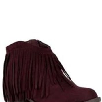 Soda Shoes Jervis Fringe Closed Toe Booties in Wine JERVIS-S-WINE