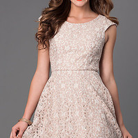 Short Lace Scoop Neck Cap Sleeve Dress