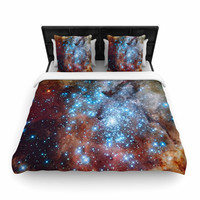 "Suzanne Carter ""Star Cluster"" Blue Space Woven Duvet Cover"