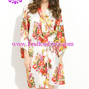 Floral Satin Bridesmaids Robe White