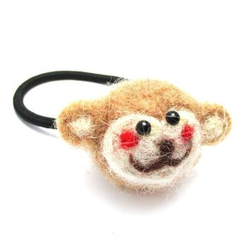 Handmade Monkey Shaped Needle Felted Wool Hair Tie