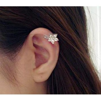 Crystal Flower Ear Cuff Wrap Cartilage Earring