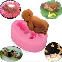 3D Silicone Sleep Baby Fondant Mold Cake Sugar Candy Decorating Pink DIY Baking 242021724897