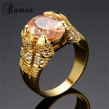 Bamos Fashion Big Oval Stone Champagne AAA Zircon Rings For Women Luxury Yellow Gold Filled Royal Engagement Jewelry Gift RY0002