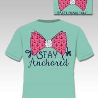 Sassy Frass Stay Anchored Bow Anchor Comfort Colors Girlie Bright T Shirt
